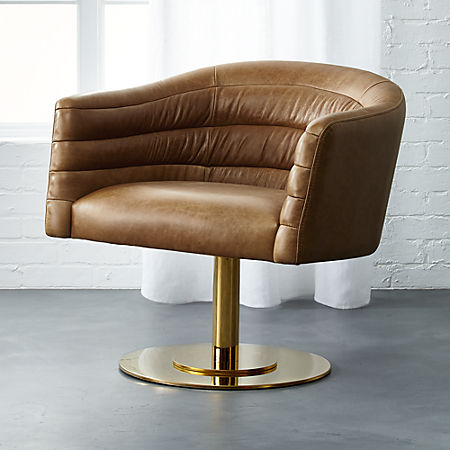 Astounding Cupa Saddle Leather Swivel Base Chair Caraccident5 Cool Chair Designs And Ideas Caraccident5Info