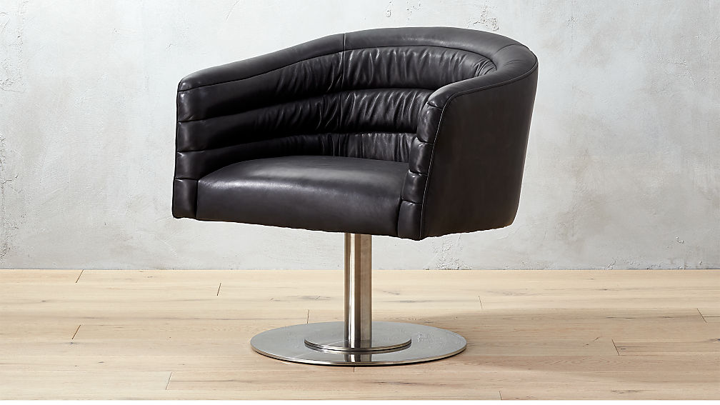 Attrayant Cupa Black Leather Swivel Chair + Reviews | CB2