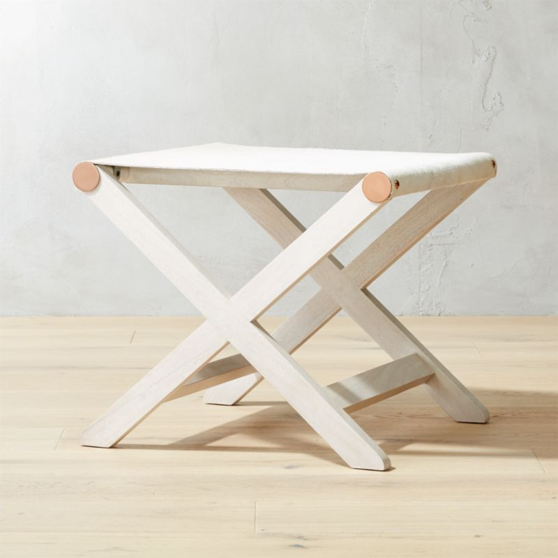 Curator White Cowhide Stool Table