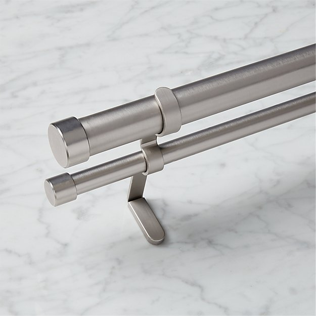 Brushed Aluminum Double Rod Curtain Rod Set Cb2
