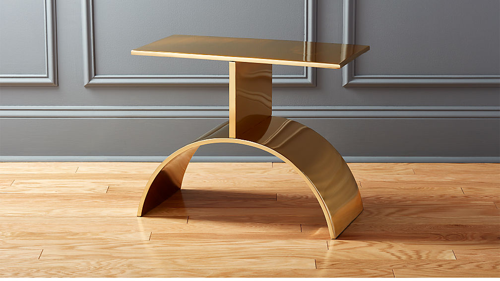 curve gold side table + reviews | cb2 Curved Coffee Table