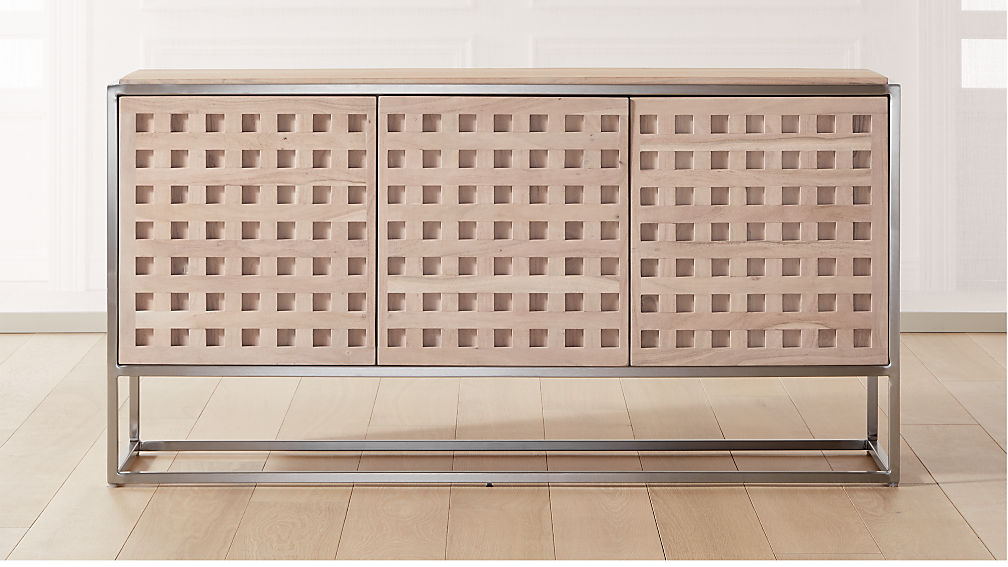 Cut Out Wood and Metal Credenza - Image 1 of 8