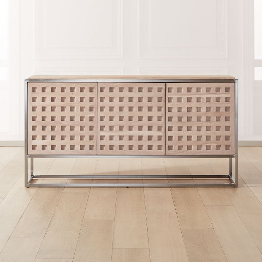 Cut Out Wood and Metal Credenza