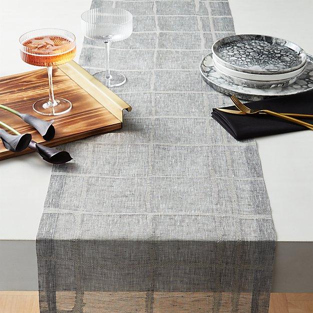 """Cutwork Gauze Linen Table Runner 120"""" - Image 1 of 5"""