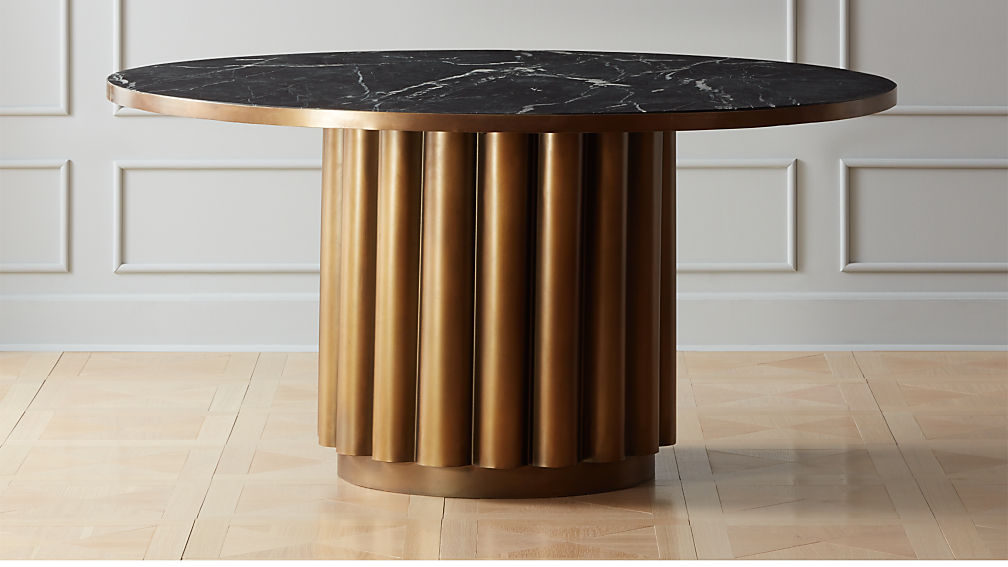 Cypher Black Marble Dining Table Reviews Cb2