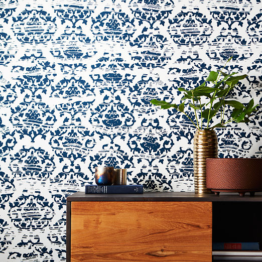 Damask Navy and White Wallpaper