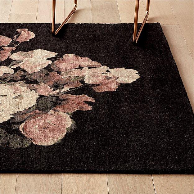 Daphne Black Floral Rug - Image 1 of 10