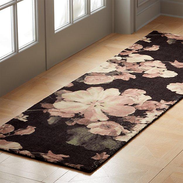 Daphne Black Floral Runner 2.5'x8' - Image 1 of 3