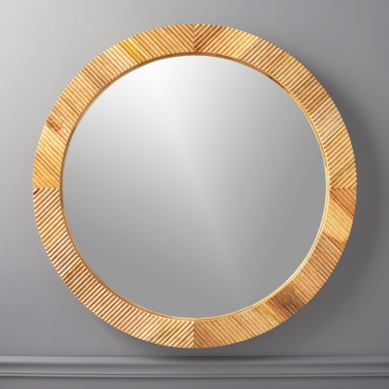 Darron Round Wood Mirror 36