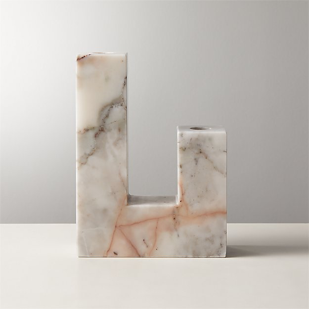 Decks Holds 2 Red Marble Taper Candle Holder - Image 1 of 5