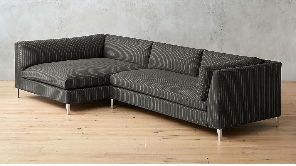 Decker 2-Piece Striped Sectional Sofa + Reviews | CB2