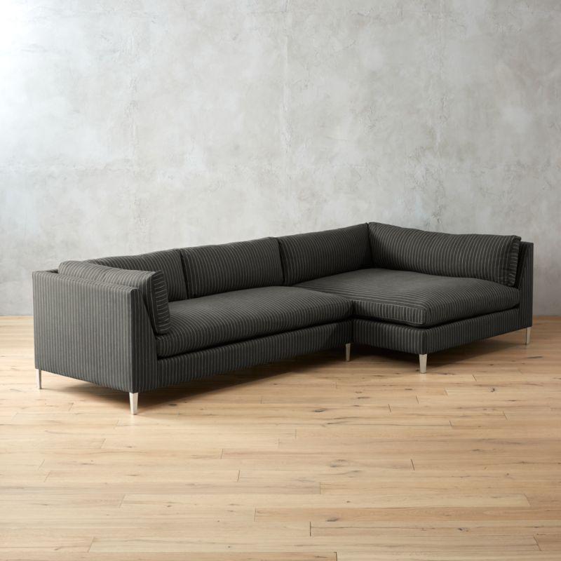 Decker 2 Piece Pinstripe Sectional Sofa