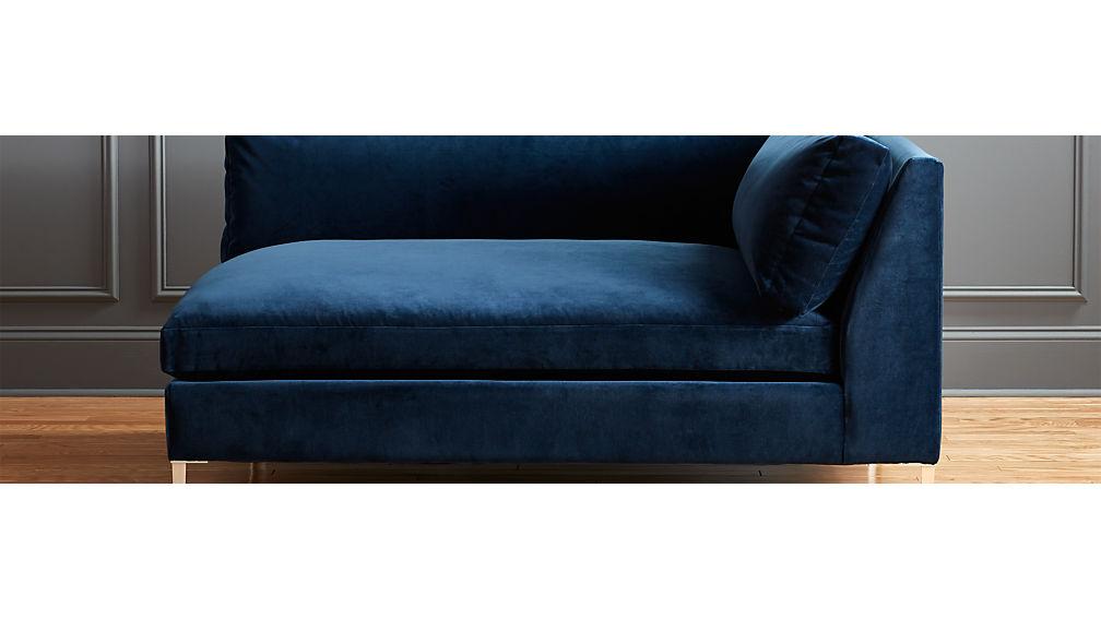 Decker Left Arm Blue Velvet Chaise Reviews Cb2