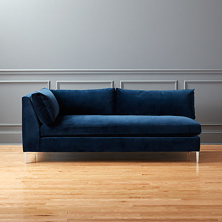 Decker Left Arm Blue Velvet Sofa