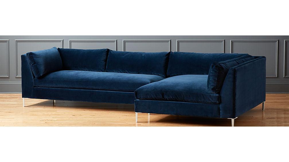 Decker 2 Piece Navy Blue Velvet Sectional Sofa Reviews Cb2