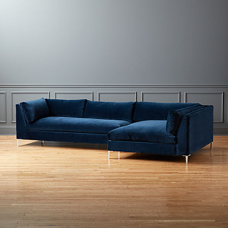 Decker 2 Piece Blue Velvet Sectional Sofa