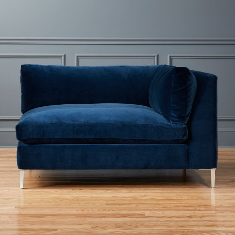 Decker Right Arm Blue Velvet Chaise