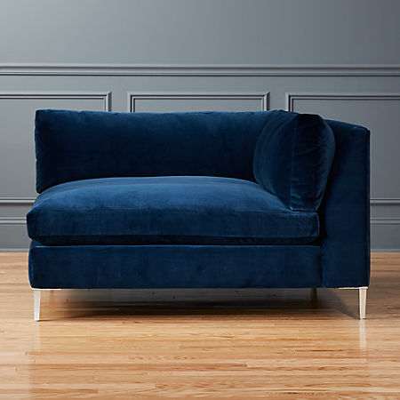 Swell Decker Right Arm Blue Velvet Chaise Onthecornerstone Fun Painted Chair Ideas Images Onthecornerstoneorg