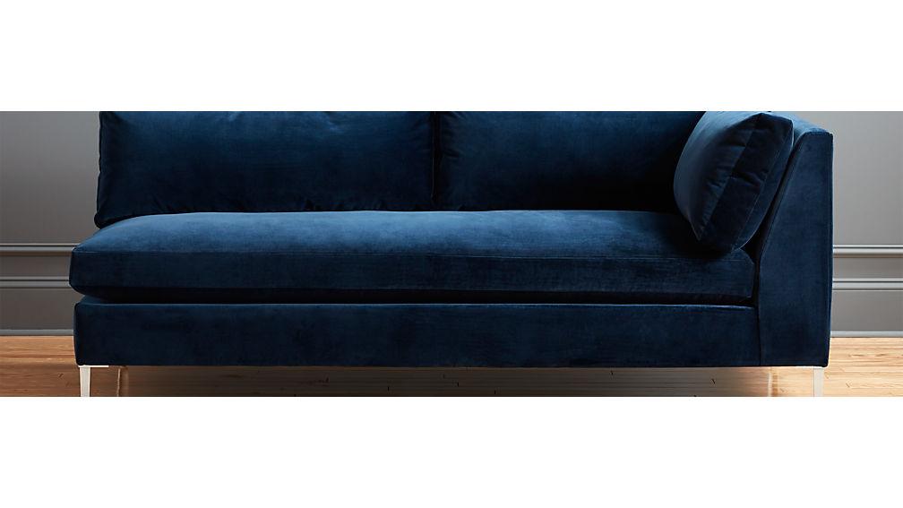 Decker Right Arm Blue Velvet Sofa + Reviews   CB2