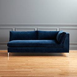 Decker 2 Piece Blue Velvet Sectional Sofa Reviews Cb2
