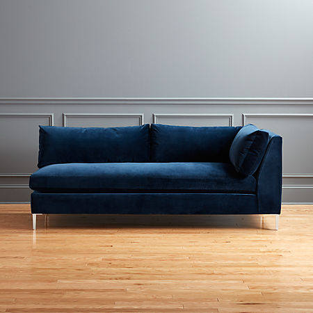 Groovy Decker Right Arm Blue Velvet Sofa Pabps2019 Chair Design Images Pabps2019Com