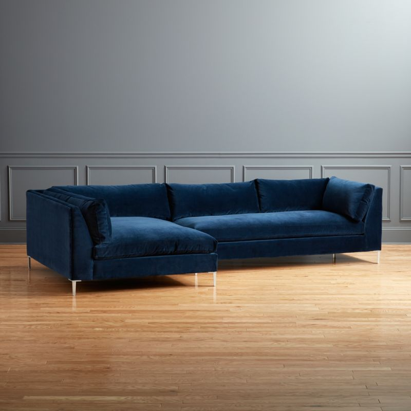 Decker 2 Piece Blue Velvet Sectional Sofa