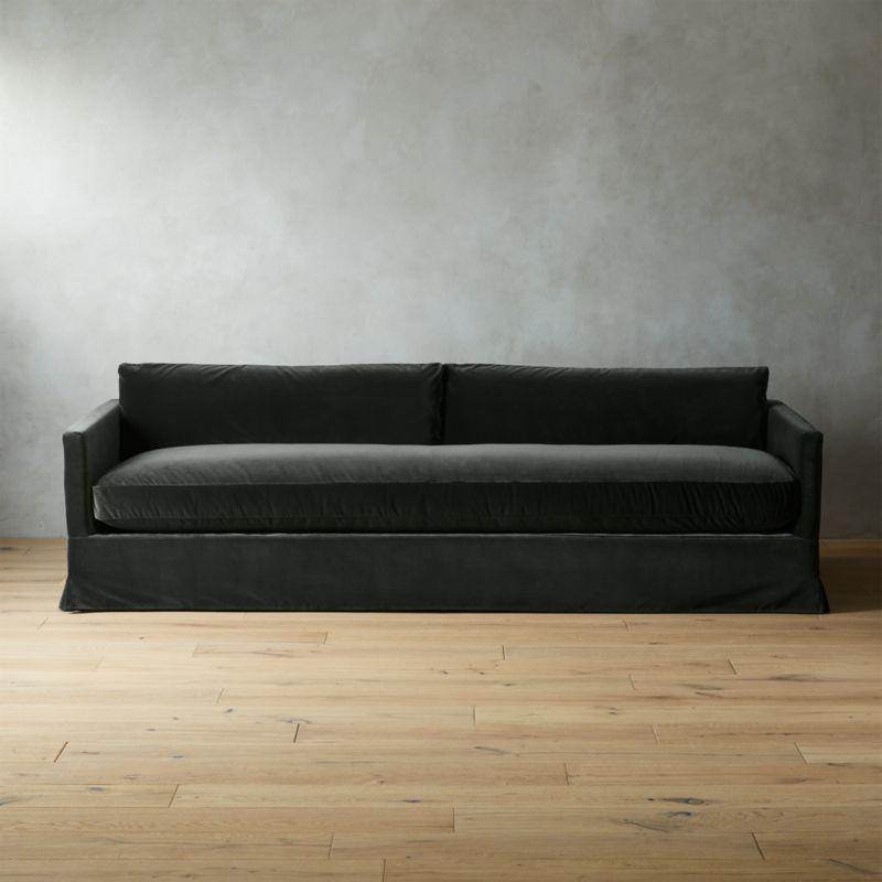 Delphine Dark Grey Velvet Slipcover Sofa