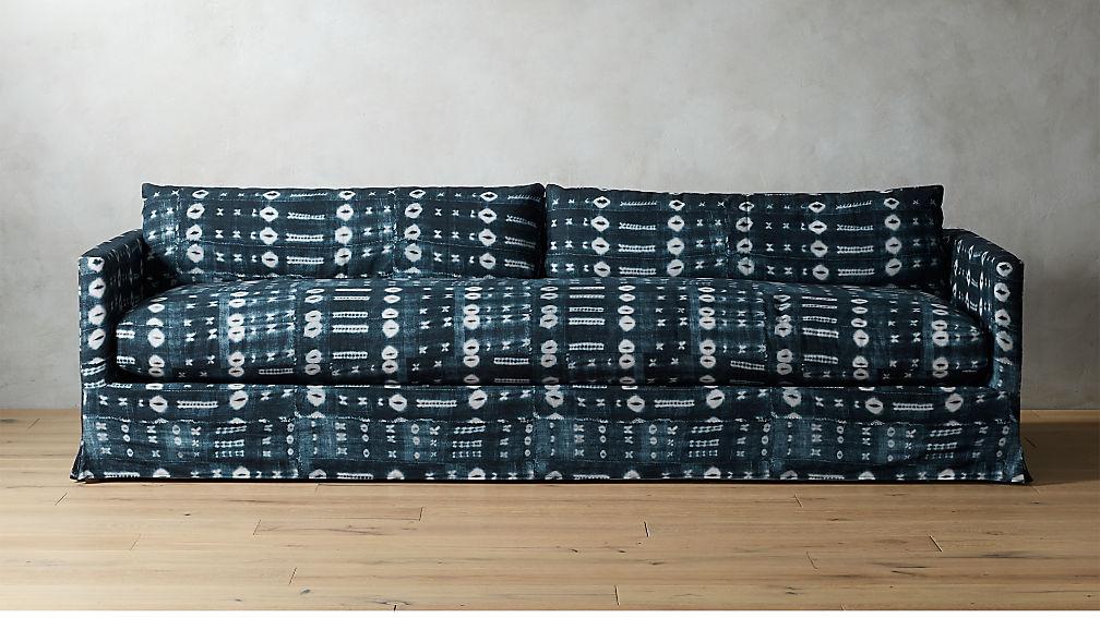 Delphine Indigo Mudcloth Slipcover Sofa + Reviews | CB2
