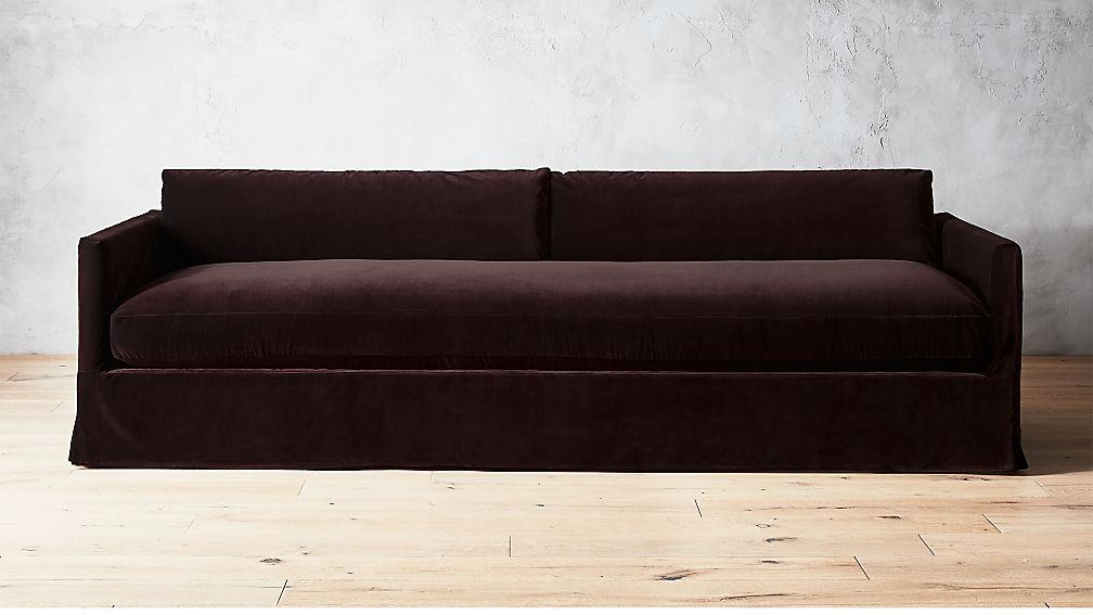 delphine mocha velvet slipcover sofa reviews cb2 - Slipcover Sofa