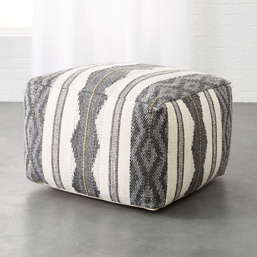 Delsey Grey Woven Pouf