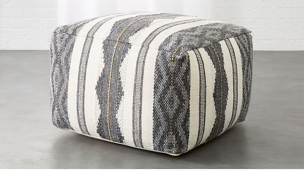 Delsey Grey Woven Pouf - Image 1 of 5