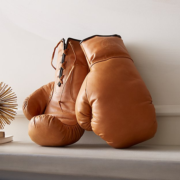 Deluxe Tan Leather Boxing Gloves - Image 1 of 6