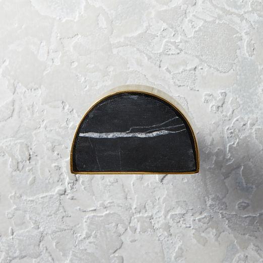 Demi Half Moon Brass and Black Marble Knob