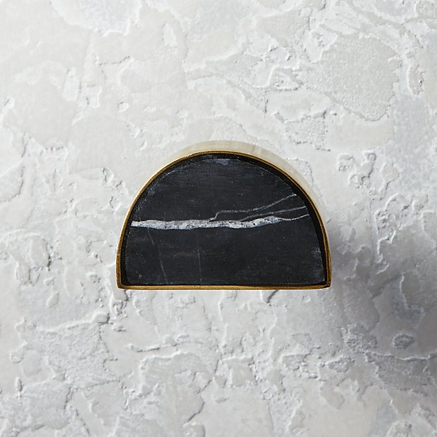 Demi Half Moon Brass and Black Marble Knob - Image 1 of 3