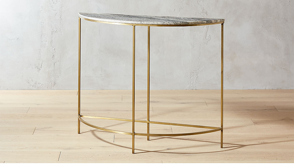 demi luna black marble half moon console table reviews cb2. Black Bedroom Furniture Sets. Home Design Ideas