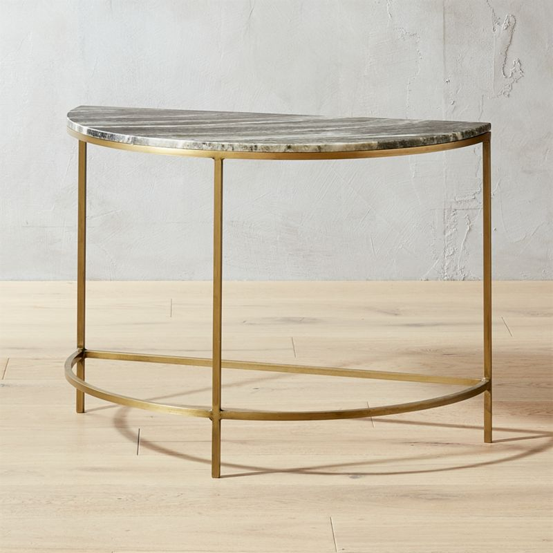 Demi Luna Black Marble Half Moon Side Table