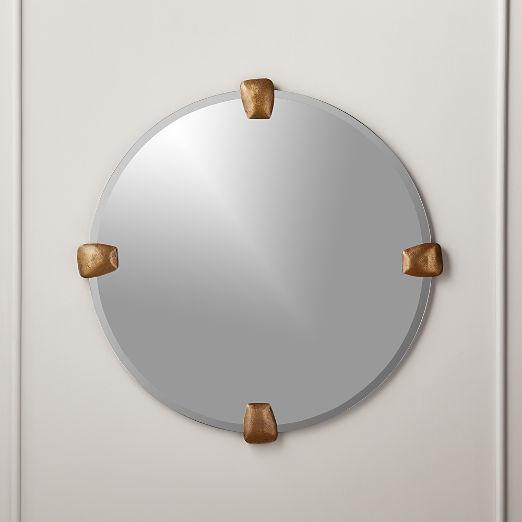 """Depp Brass Tab Round Mirror 32"""""""