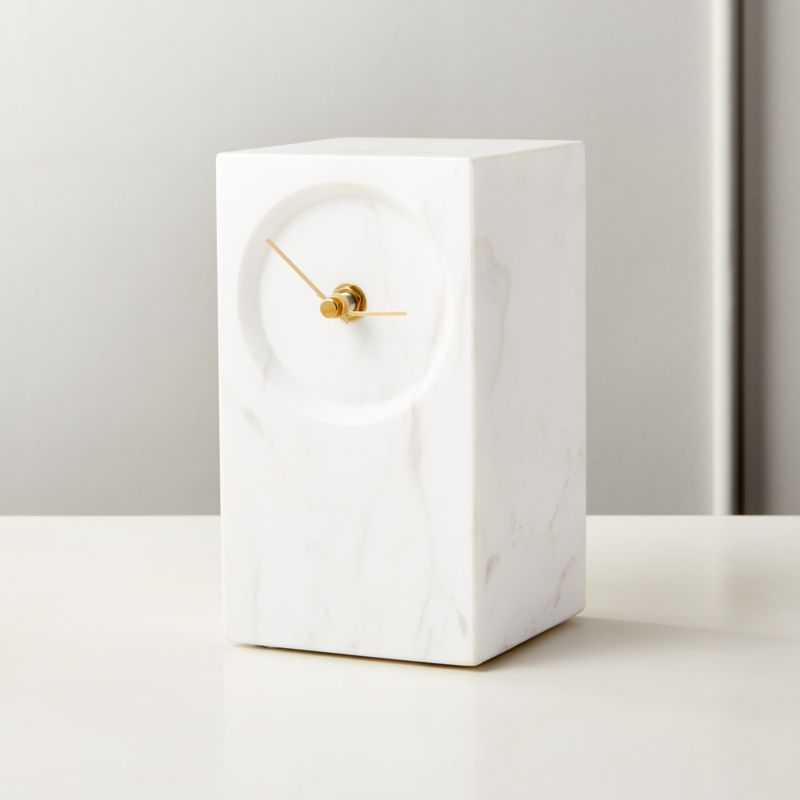 Crate And Barrel Desi Rug: Desi White Marble Table Clock + Reviews