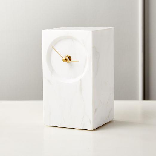 Desi White Marble Table Clock