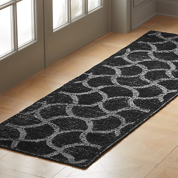 Dimera Hand Loomed Black Pattern Runner 2.5'x8' - Image 1 of 3