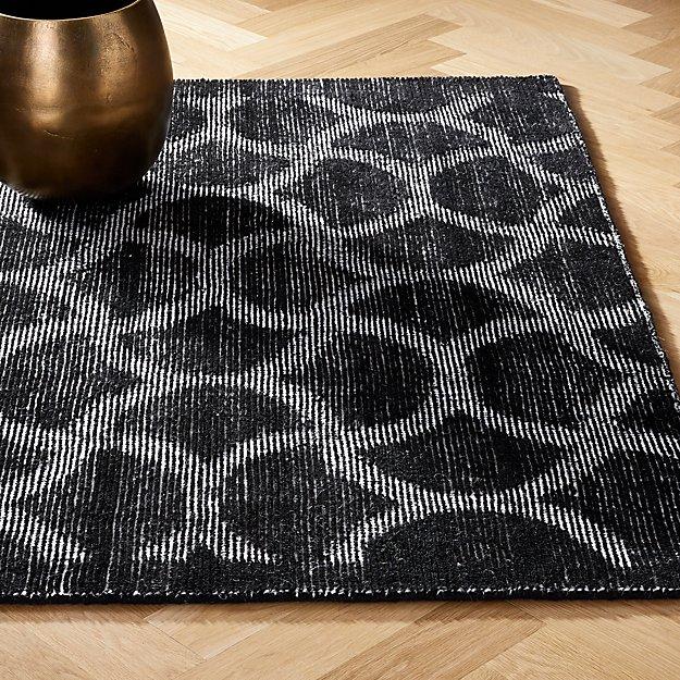 Dimera Hand Loomed Black Pattern Rugs - Image 1 of 12