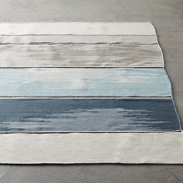 Dip Navy and White Rug - Image 1 of 8