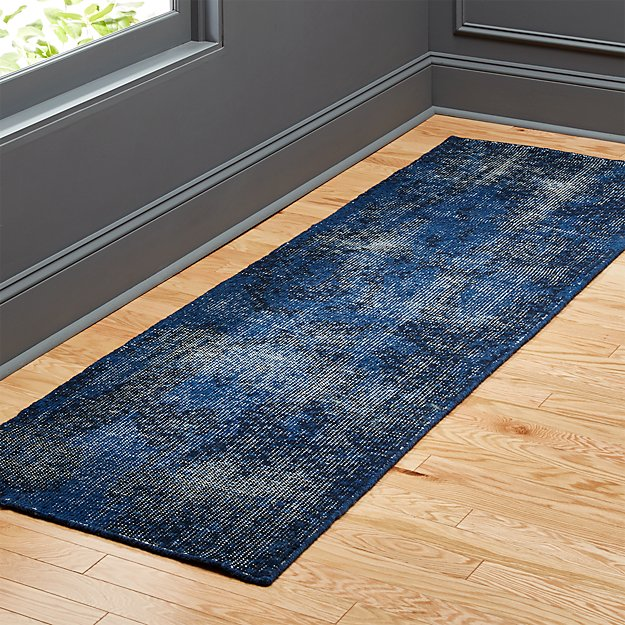 The Hill-Side Disintegrated Blue Floral Runner 2.5'x8' - Image 1 of 3
