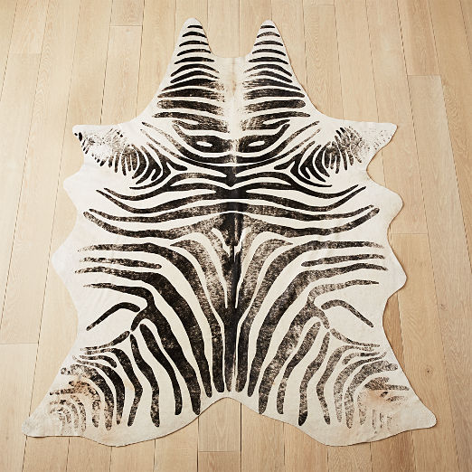 Distressed Faux Zebra Hide Rug