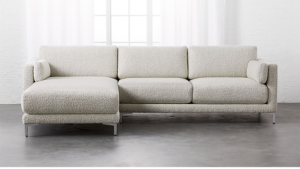 District 2-Piece Grey Sectional Sofa + Reviews | CB2