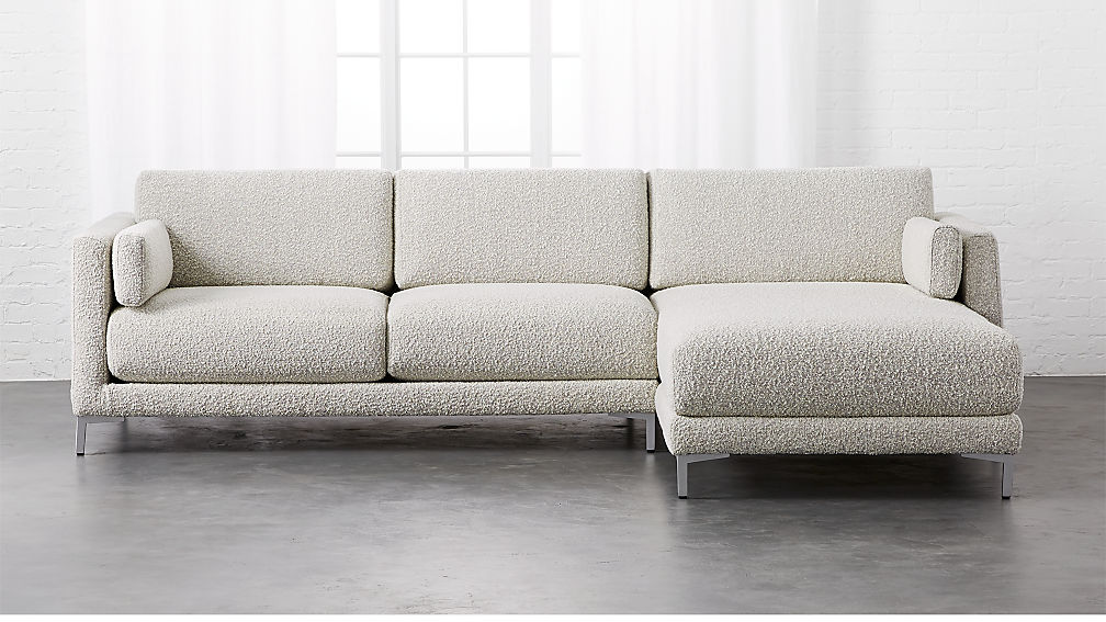 District Textured Grey Right Chaise Sectional + Reviews | CB2
