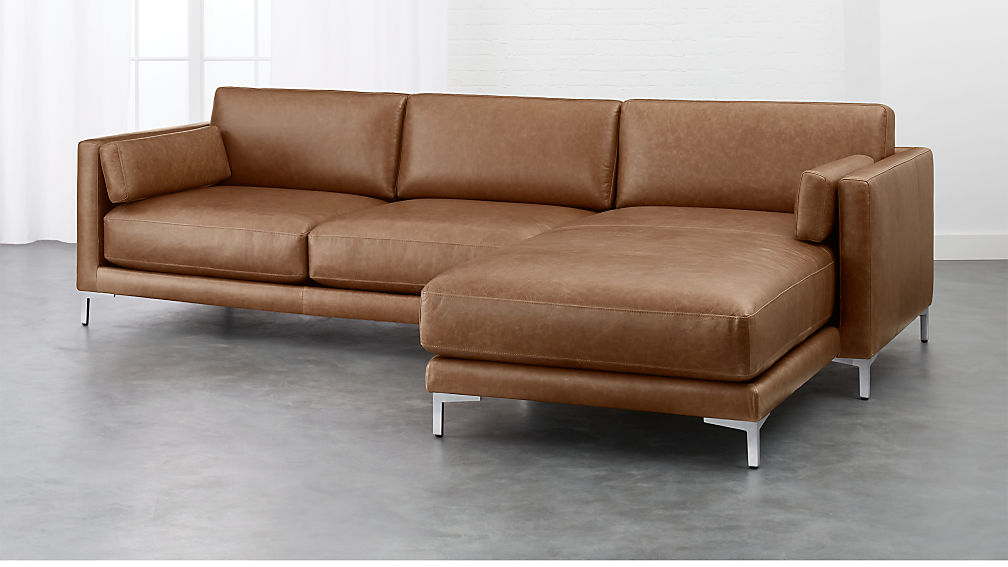 district leather 2 piece sectional sofa cb2 - Sofa Leather