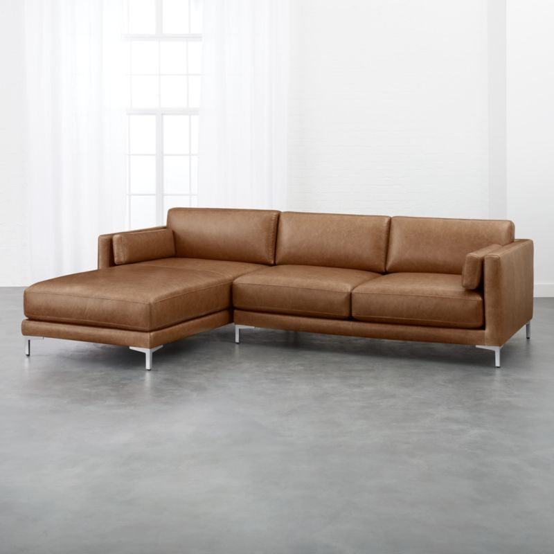 Delightful District Leather Left Chaise Sectional | CB2