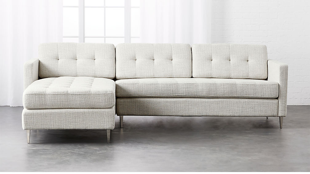 Ditto II Grey Mist Tufted Sectional Sofa + Reviews | CB2