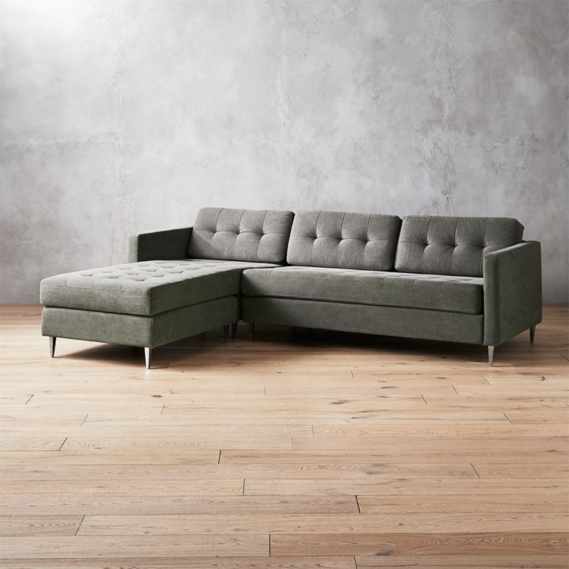 Ditto II Pewter Tufted Sectional Sofa